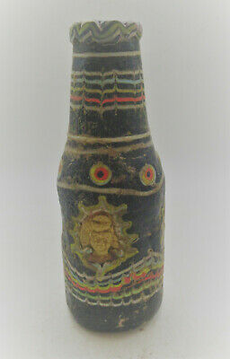 Rare Ancient Phoenician Mosaic Glass Bottle With Gold Plate Attachment 500Bce