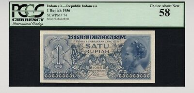1956 Indonesia Republik Indonesia 1 Rupiah Pcgs 58 Choice About New!
