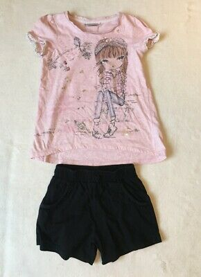***Next girls Pink top and TU black cotton shorts 7 years***