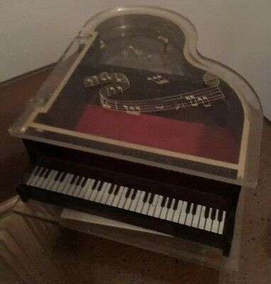 Vintage Lucite Baby Grand Piano Music Box Plays Edelweiss~Made in Hong Kong