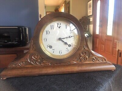 Fancy CARVED Antique wooden Sessions Tambour Mantle Click Runs Strikes