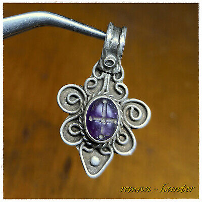 """ CROSS "" INTAGLIO AMETHYST ancient SILVER Byzantine or Medieval pendant !!!!"