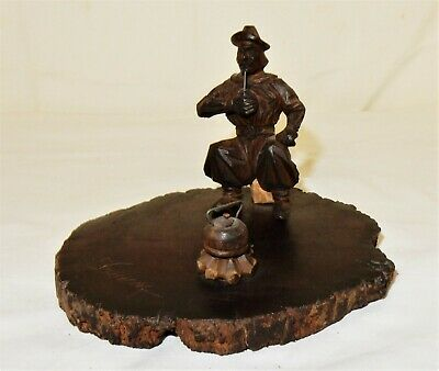 Vintage Hand Carved Folk Art Treen Signed Man Smoking Sitting on Skull by Kettle