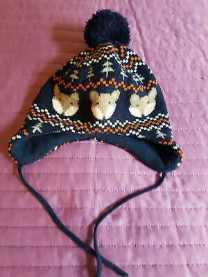 1-2yr. / 86-92, Baby Boys Blue Soft Jacquard-Knit Fleece Lined Winter Hat, H&M