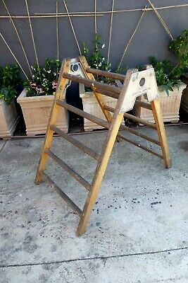 Vintage Gymnasium Wooden A-Frame Climbing Ladder Globe Sporting Play Equipment