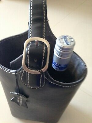Insulated 2 Bottle Wine Carrier made of genuine leather