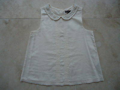 M&S AUTOGRAPH COLLECTION cream pearl beaded top  AGE 10-11