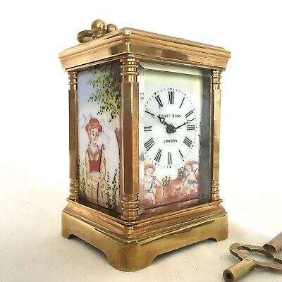Antique FRENCH Miniature Brass Carriage Clock Elliott & Son Porcelain Panels