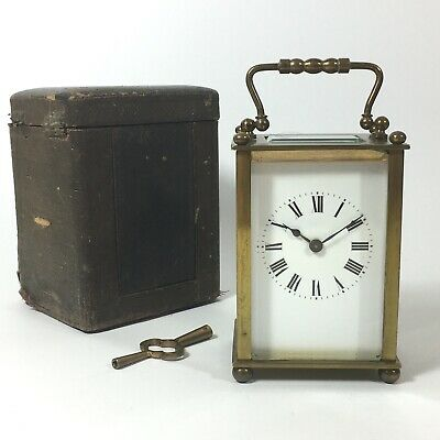 FRENCH Antique Brass Carriage Clock Early 1900's Case & Key