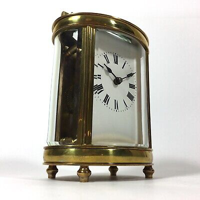 Stunning FRENCH Antique Brass Oval Carriage Clock Case & Key