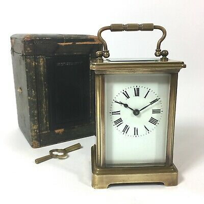 FRENCH Antique Brass Carriage Clock with Case & Key