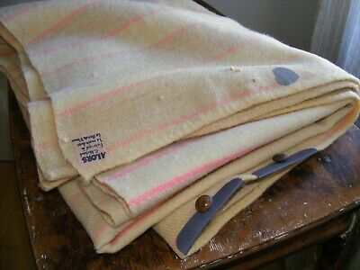 Canadian Antique hand woven Wool Blanket Second Wind pink stripes