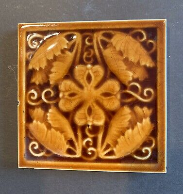 antique Art Nouveau Floral Ceramic Art Tile Trent NJ Victirian Pottery