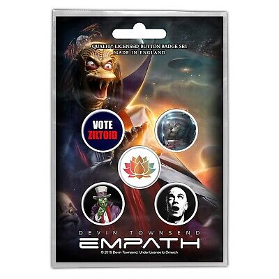 Devin Townsend Ziltoid Empath Button Badge Pack Official Metal Button Badges Set