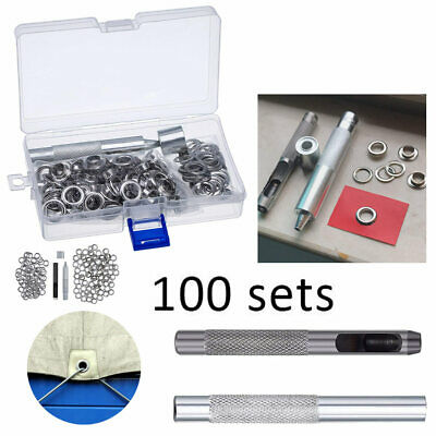 100 Set Eyelets Metal Grommets with Installation Tools Kit Craft DIY Accessories
