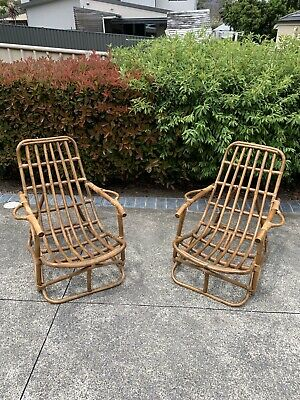 Pair Of Boho Cane Chairs Mid Century Armchairs