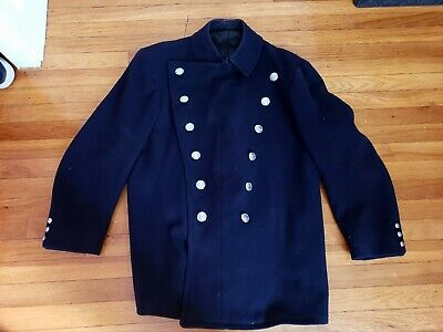 Vintage Boston Fire Department BFD Cheif Lt Officer Double Breasted Coat Jacket