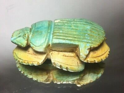 Blue Egypt Faience Steatite Scarab Button 33rd Dynasty Late Kingdom Carved