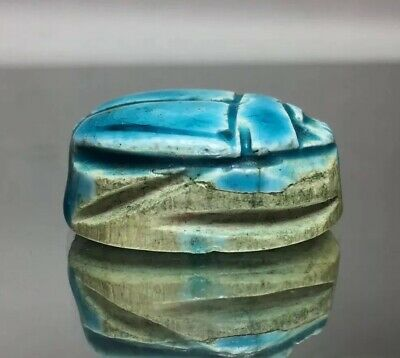 Blue Egypt Faience Steatite Scarab Cartouche 33rd Dynasty Late Kingdom Carved