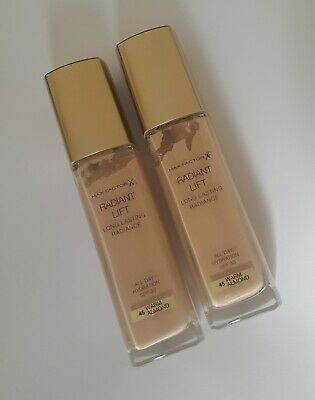 MAX FACTOR X 2 # RADIANT LIFT # WARM ALMOND 45 # New FOUNDATION SPF 30