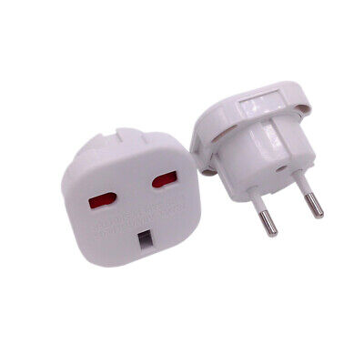 Adaptador Blanco Red Enchufe UK Ingles Reino Unido a Europeo UE Schuko Travel