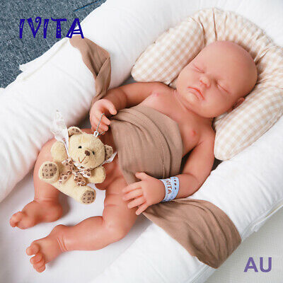 IVITA 18'' Silicone Reborn Baby Boy Eyes Closed Can Sleeping Doll Collector