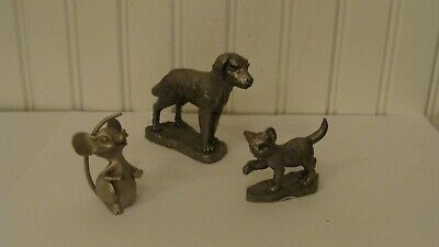 Vintage Hand Crafted Pewter Dog, Cat & Mouse Figurines