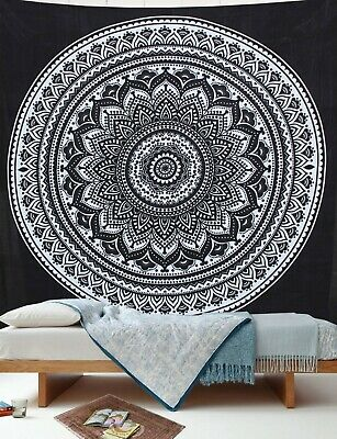 Indian Black White New Ombre Mandala Wall Decor Tapestry Queen Bedding Hippie