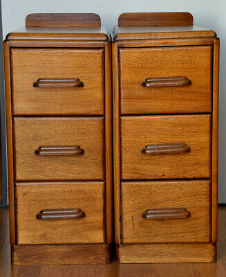Pair of Vintage Art Deco Bedside Drawers / Side Tables