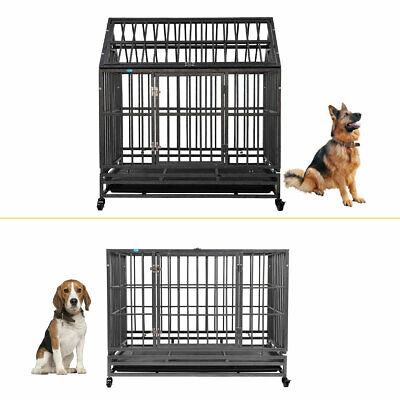 "37""/42"" Heavy Duty Pet Large Dog Cage Crate Kennel Metal Playpen w/ Tray Wheels"