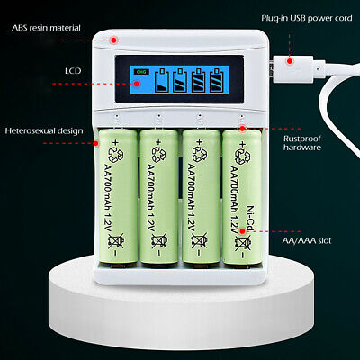 Rechargeable Smart Battery Charger LCD Display 4 Slots for AA/AAA NiCd NiMh NiCD