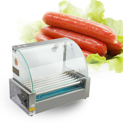 USA Commercial Electric 18 Hot Dog 7 Roller Grill Cooker Machine 1200-Watt+Cover