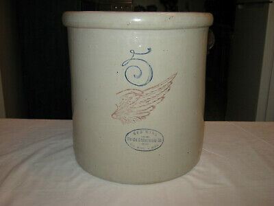 """Red Wing 5 Gallon Crock w/ Good Graphics and Color ( """"6"""" inch Big Wing)"""