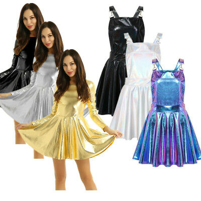 Women's Shiny Metallic Party Cocktail Mini Dress Ladies Skater Dresses Clubwear