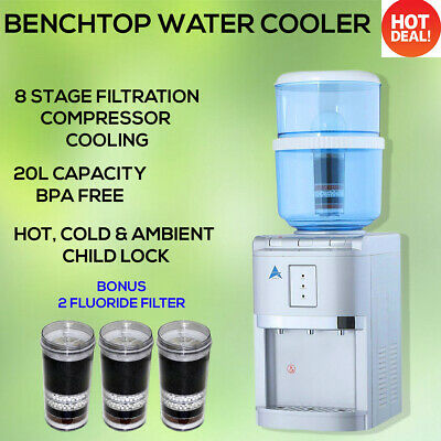 Water Cooler Dispenser Hot Cold Fluoride Water Filter KDF BenchTop 2 Filter Free