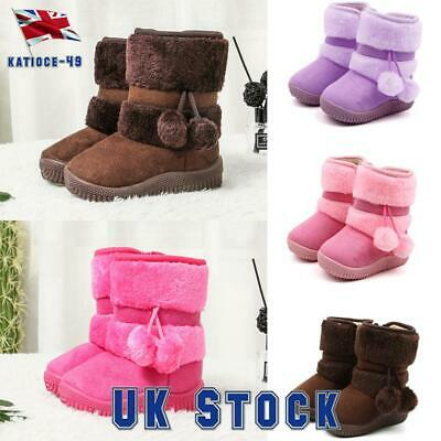 Kids Girls Children Warm Winter Snow Ankle Fur Lined Mid Calf Boots Shoes Size