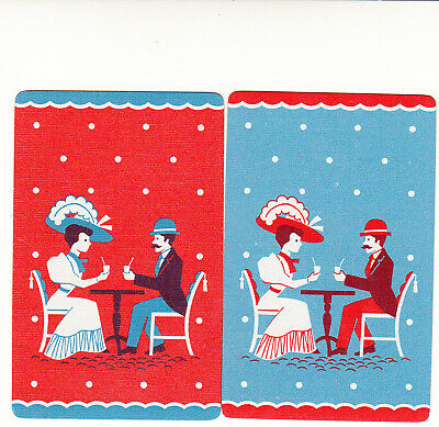 #209 2 (pair) single vintage single playing swap cards - Deco couple  - JS