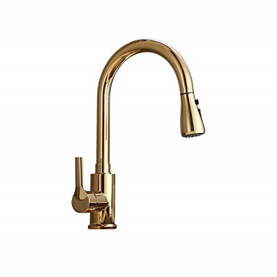 AUXO Single Handle High Arc Pull Out Kitchen Faucet, Lead-Free Solid Brass Sink