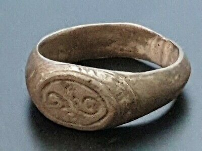 Ancient  Roman Silver decorated  ring 1st Century AD