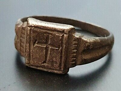 Byzantine crusaders silver ring with cross symbol 10th-12th century
