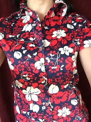 Genuine pointed collar vintage shirt 1970s floral red white & blue short sleeve