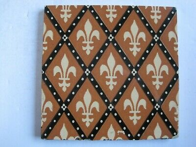 Antique Victorian Minton Hollins Gothic Brown Fleur De Lis Wall Tile C1875/85