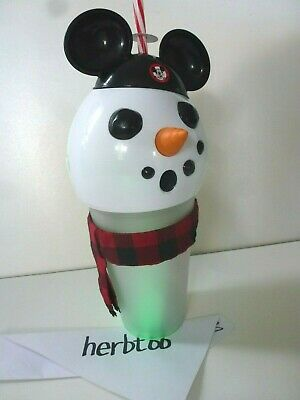 2019 Disney Parks Christmas Holiday Snowman Mickey Light up Sipper Cup NWT