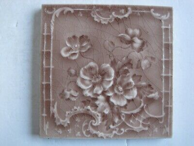 Antique Victorian Mintons Moulded And Majolica Glazed Floral Wall Tile Rd 226491
