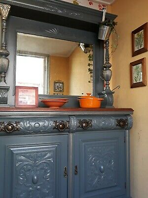 "Victorian Chiffonier, Sideboard, Dresser Upcycled in Farrow and Ball ""Down Pipe"""