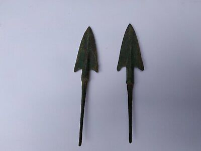 Ancient BACTRIAN BRONZE BEAUTIFUL/ COUPLE OF SPEAR HEAD C 300 BC  GG897