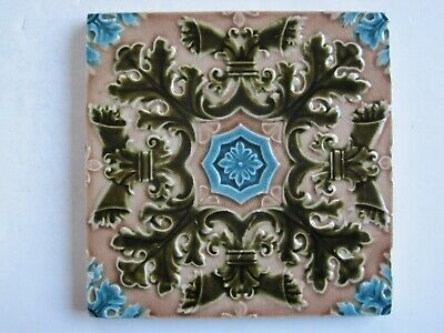"""Antique 6"""" Victorian Moulded And Majolica Glazed Aesthetic Tile"""