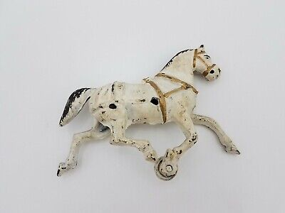"Vintage Cast Iron White Horse Replacement Part Toy 7""L 5.5""H Buggy Wagon"