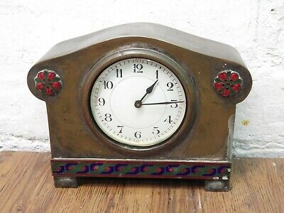 Beautiful Unusual Antique French Brass And Enamel Mantel Clock