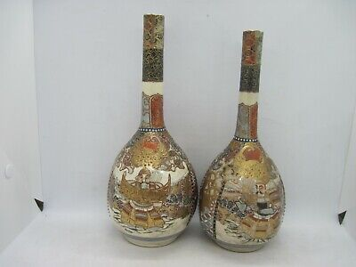 Pair antique Japanese Satsuma bottle neck vases - onion shaped - signed
